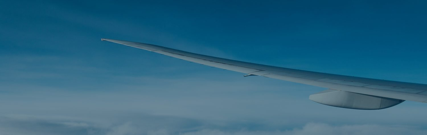 Aircraft wing flying through the sky